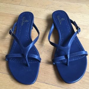 Brooks Brothers Navy Blue Leather Sandals